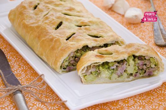 Strudel con broccoli e salsiccia ricetta di pronto in tavola - Ricette monica bianchessi pronto in tavola ...