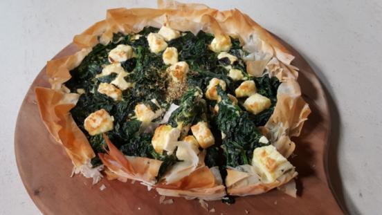 Torta salata semplice feta e spinaci