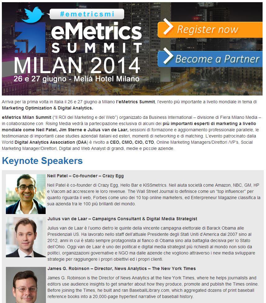 Arriva a Milano la prima edizione di eMetrics summit