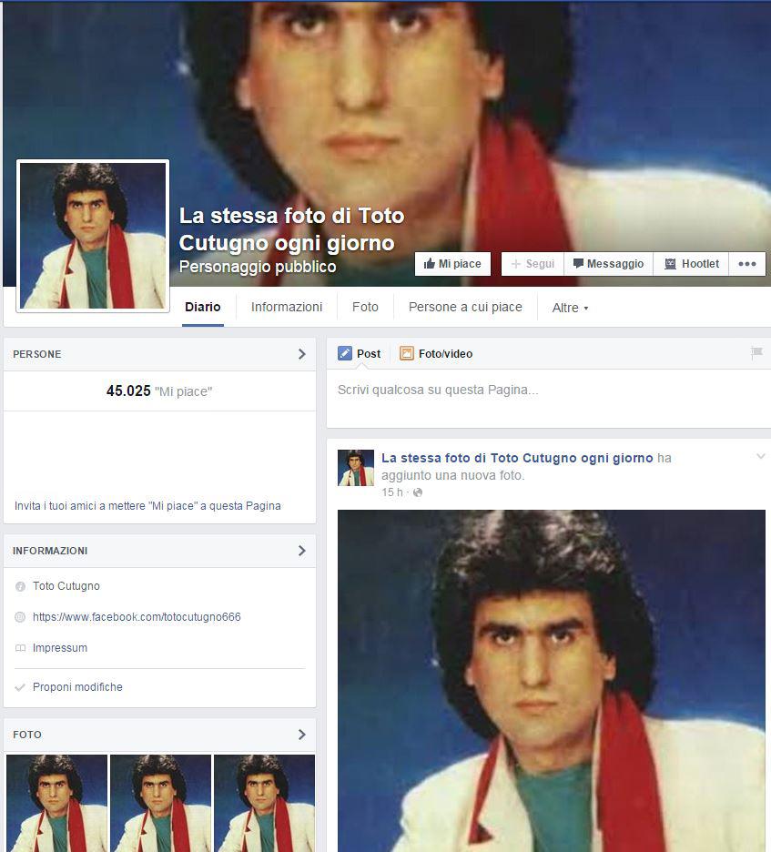 Cutugno su Facebook diventa un caso