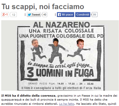 """L. voto, M5S sceglie proporzionaleGrillo a Renzi: """"Fuggi, noi facciamo"""""""
