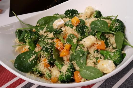 Insalata di cous cous, zucca e broccoli