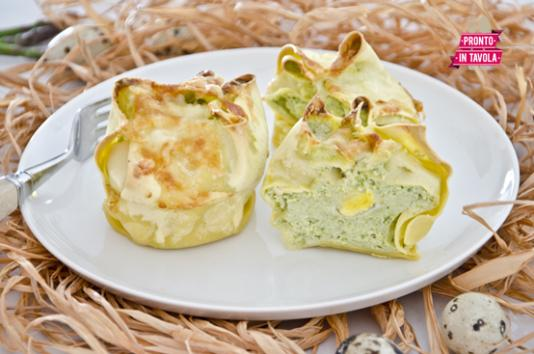 Timballini asparagi e uova di quaglia