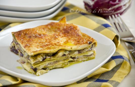 Lasagne al radicchio, fontina e pesto
