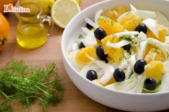Insalata di arance, olive nere e finocchi