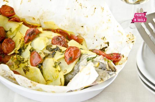 Spigola (branzino) in crosta di patate