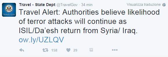 Terrorismo, gli Stati Uniti lanciano un'allerta mondiale sui viaggi