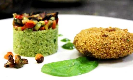 Schiacciatine di broccoletti, noci e uvetta con tortino di quinoa