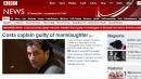Condanna Schettino, la notizia in apertura sui maggiori siti di informazione del mondo
