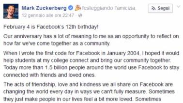 Facebook compie 12 anni: oggi conta 1,6 mld di utenti