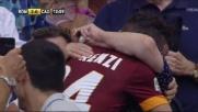 Florenzi, gol e corsa in tribuna per abbracciare la nonna