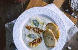 Crema di cannellini con guanciale e cialda di formaggio