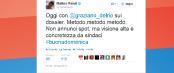 """Renzi su Twitter: """"Proverò a ridurre le tasse, come ho fatto da sindaco"""""""