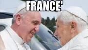La gioia di Ratzinger e i baci della Merkel, ironia web
