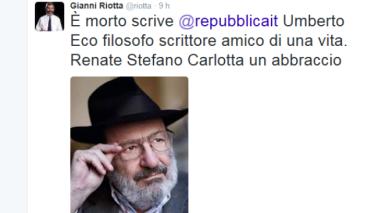 Twitter ricorda Umberto Eco: Da Saviano a De Bortoli, Riotta e Franceschini