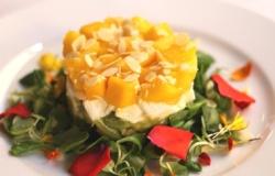 Tartare di avocado, mozzarella e mango agli agrumi e insalatina croccante con mandorle