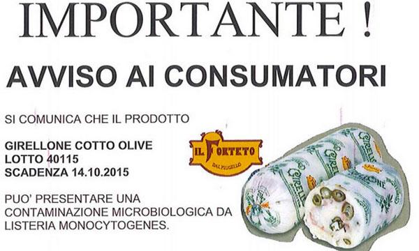 """Rischio batterio, la Coop ritira dal mercato il """"Girellone alle olive"""""""