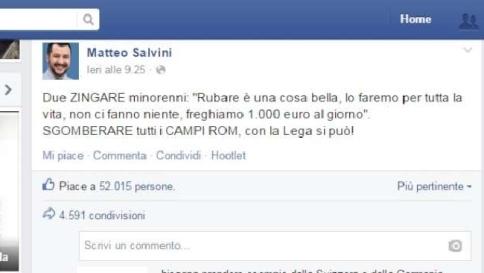 """Rom, Salvini sospeso da Facebook:<br /><br /> """"Punito per la parola zingari"""""""