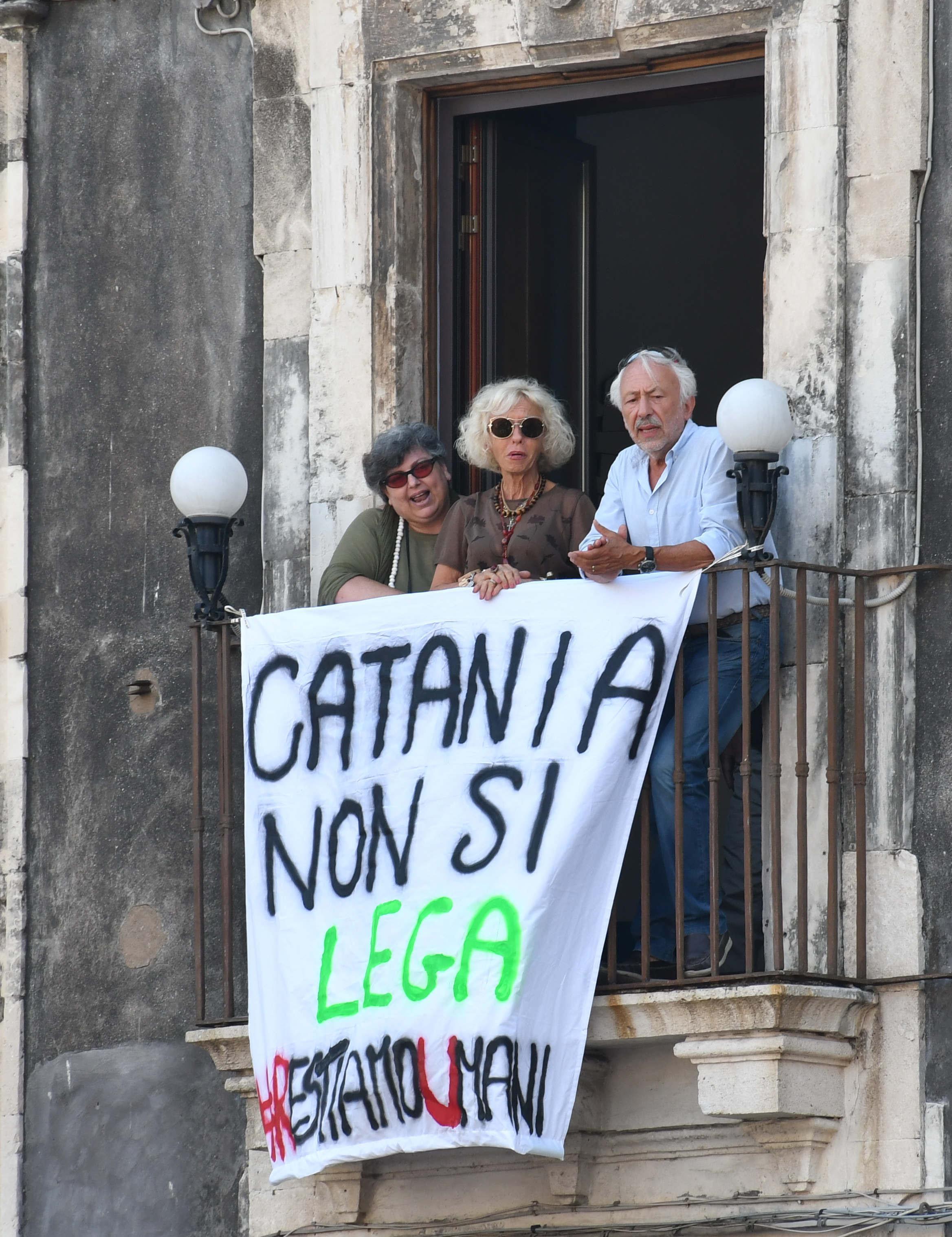 Catania, Salvini contestato: