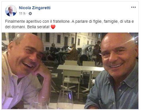 Selfie di Nicola Zingaretti e Luca: