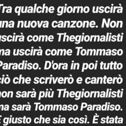 Tommaso Paradiso lascia Thegiornalisti: l'addio su Instagram