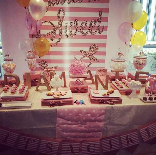 Michela Quattrociocche, baby shower in rosa