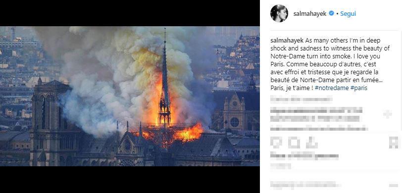 I Vip piangono per Notre-Dame
