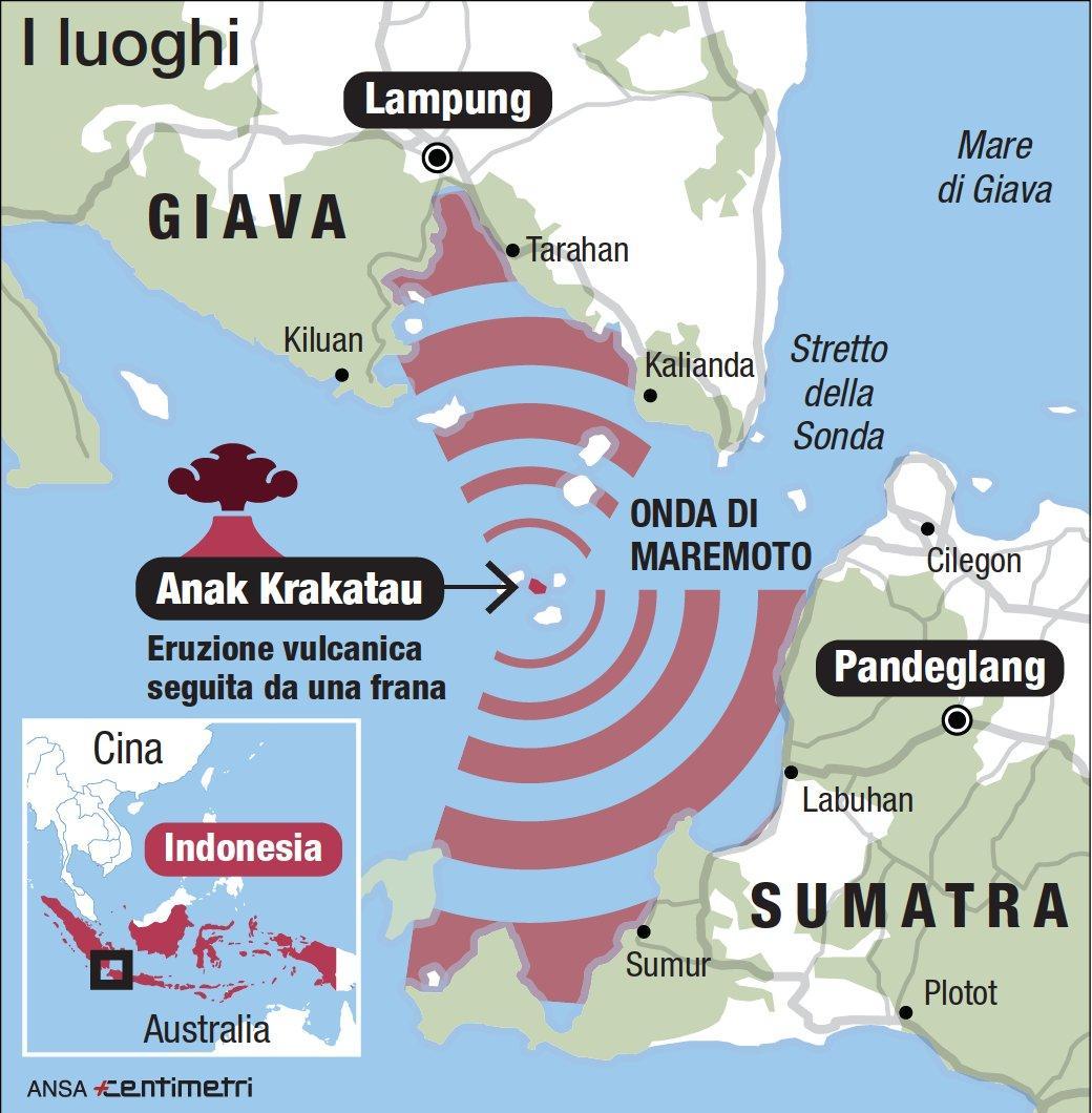 Tsunami in Indonesia, l'esplosione del vulcano e i luoghi del maremoto
