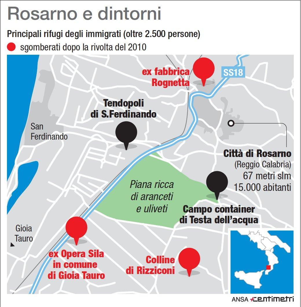 Migranti, ecco i centri di accoglienza nella zona di Rosarno