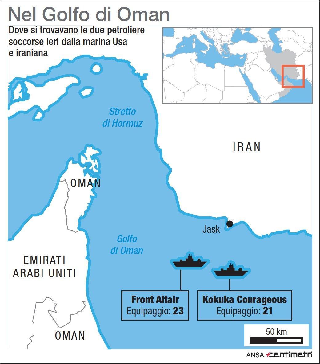Golfo di Oman, le due petroliere attaccate
