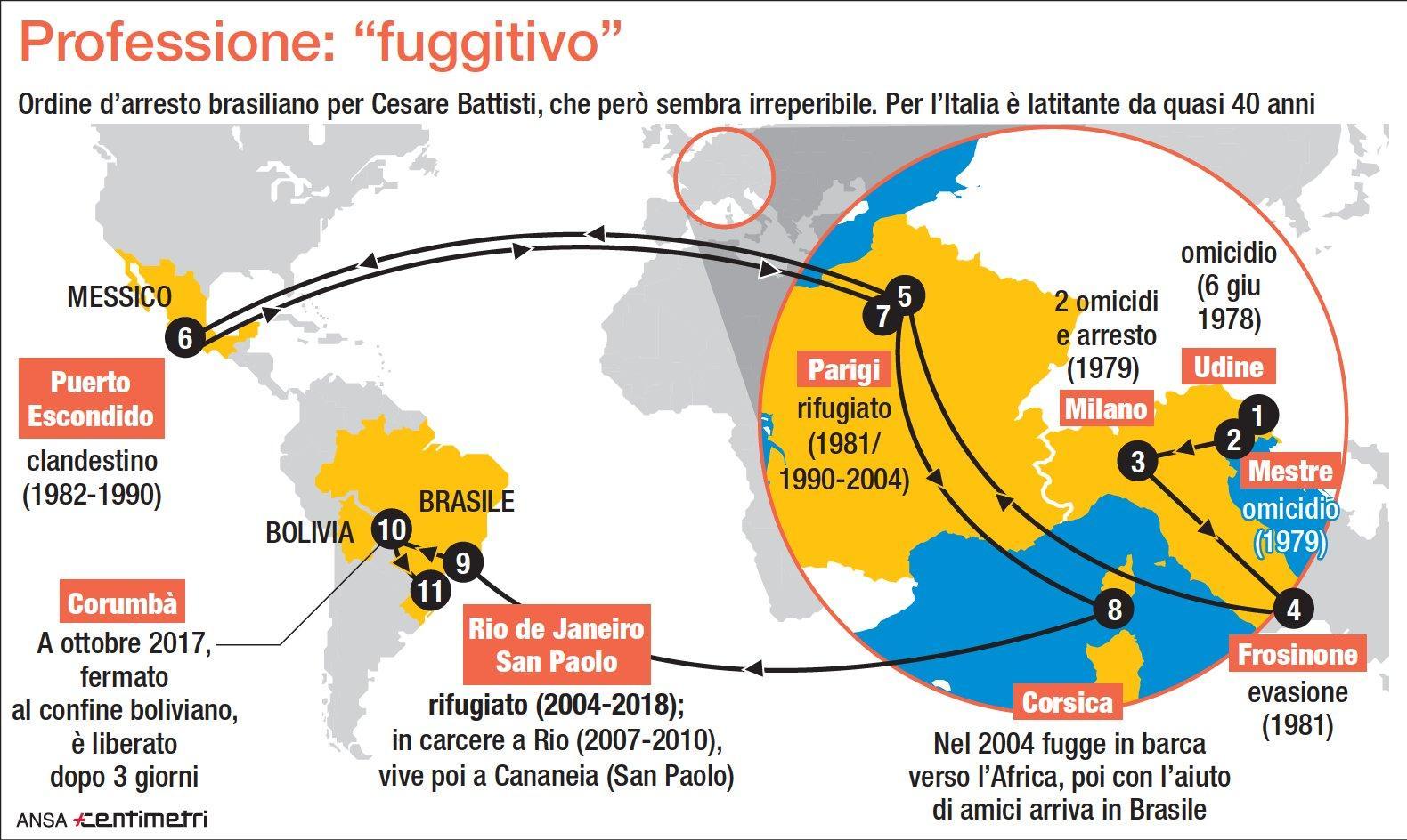Cesare Battisti, una vita in fuga: tutte le tappe