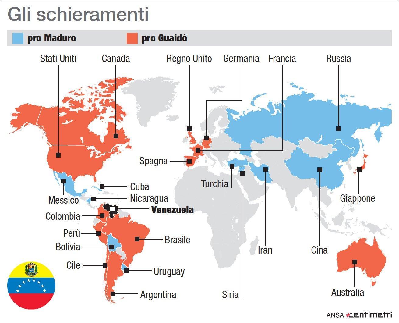 Venezuela, chi sta con Maduro e chi con Guaidò