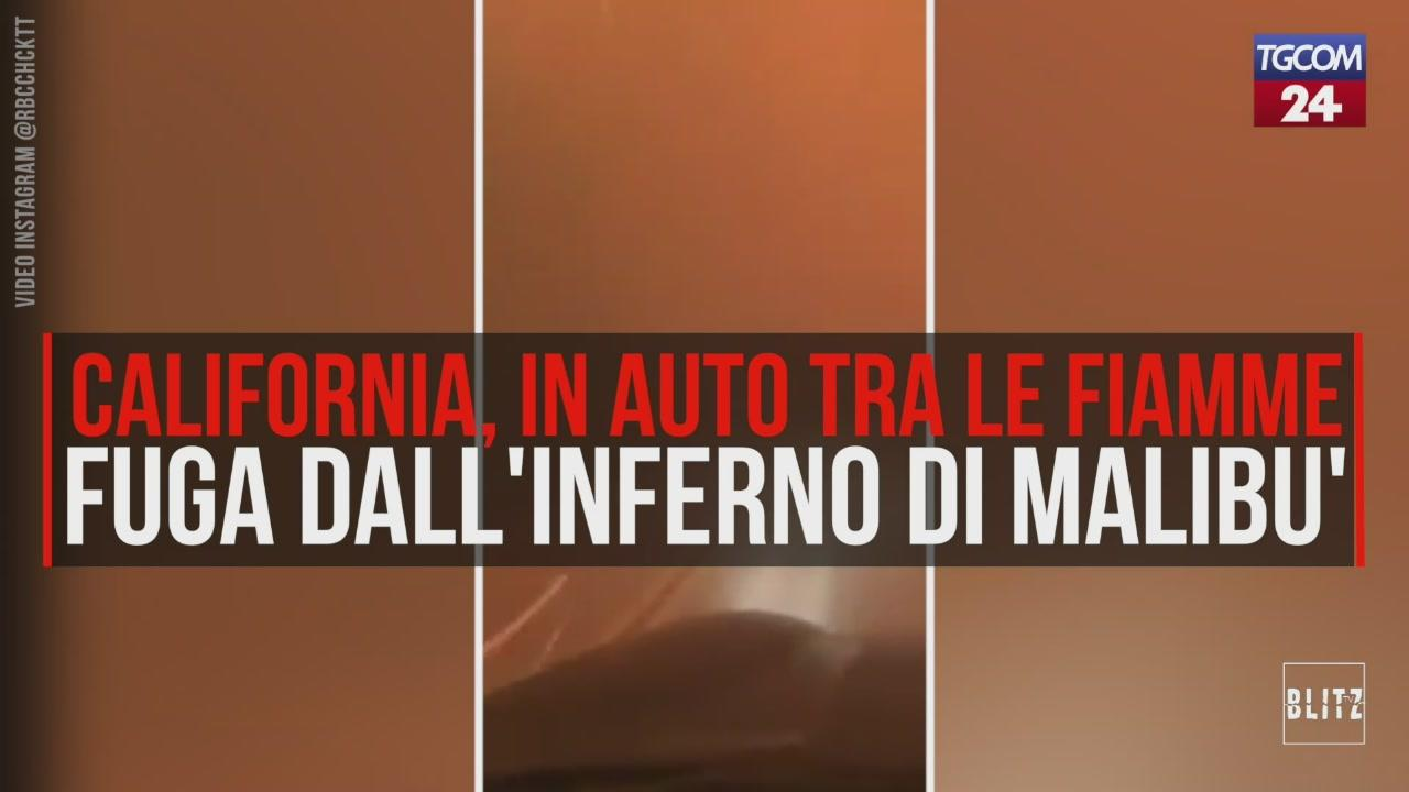 California, in auto tra le fiamme: fuga dall'inferno di Malibù